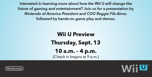 Wii U Event this September 13