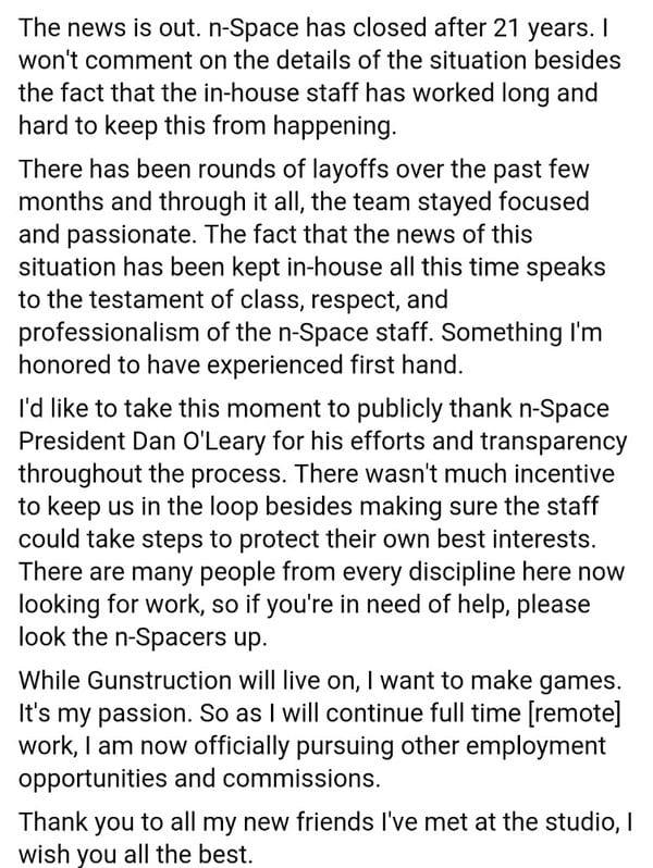 n-space closure statement