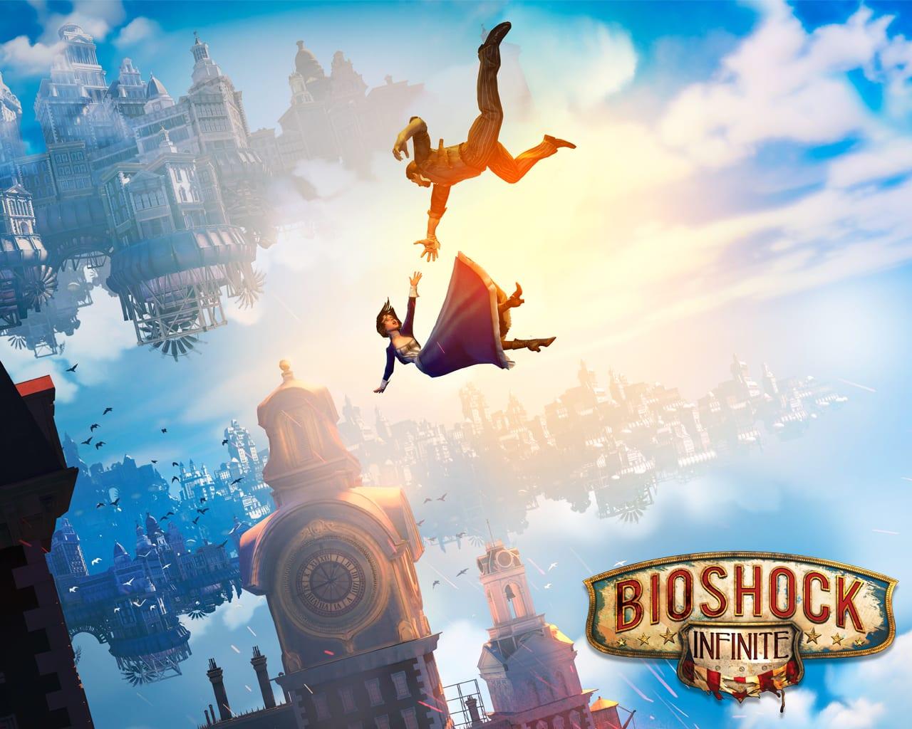 Bioshock Infinite Booker and Elizabeth falling