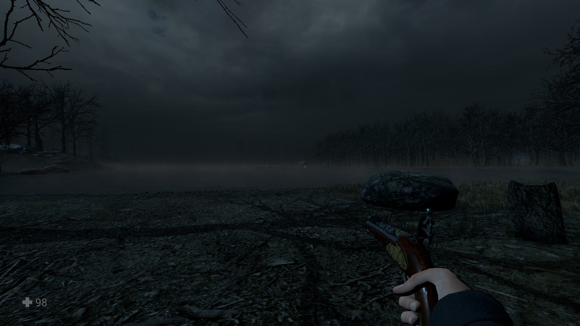 An eerie view of a lake, in Witch Hunt.