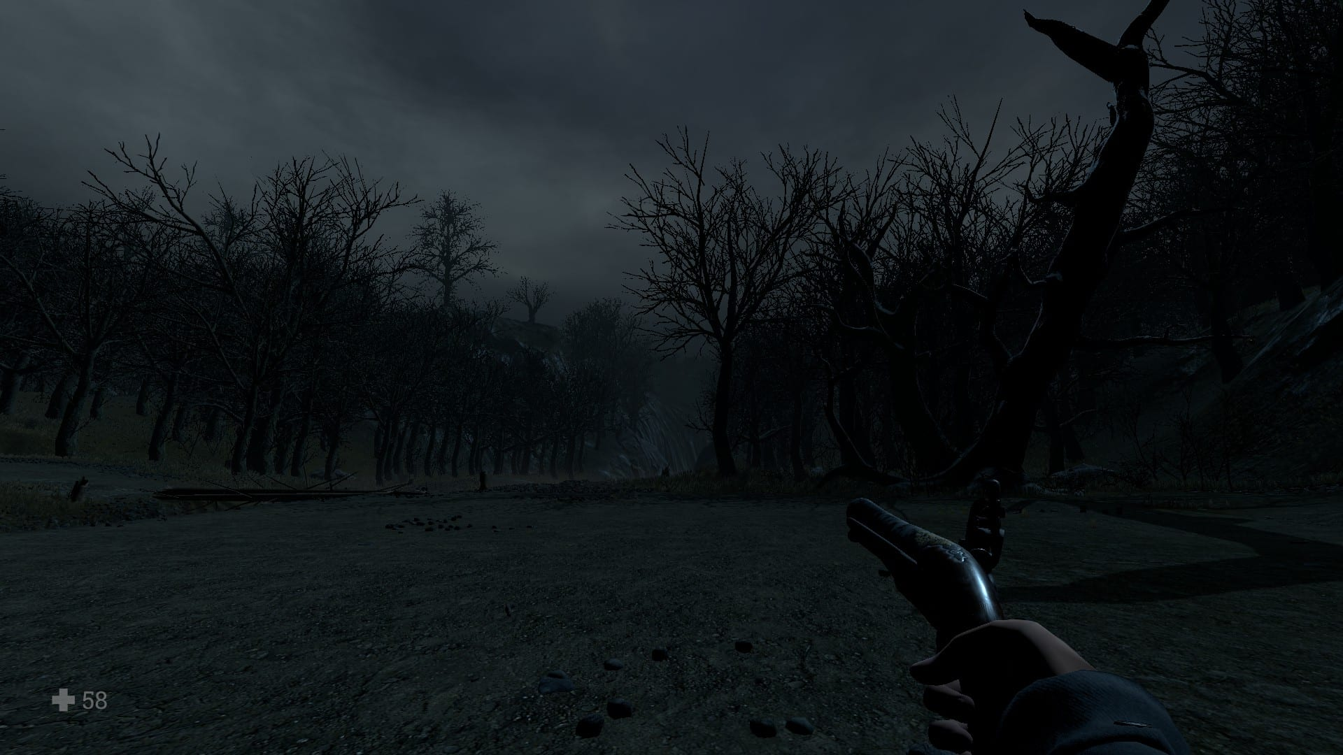A screenshot of the woods of Bellville, as the player is about to walk through them, in Witch Hunt.