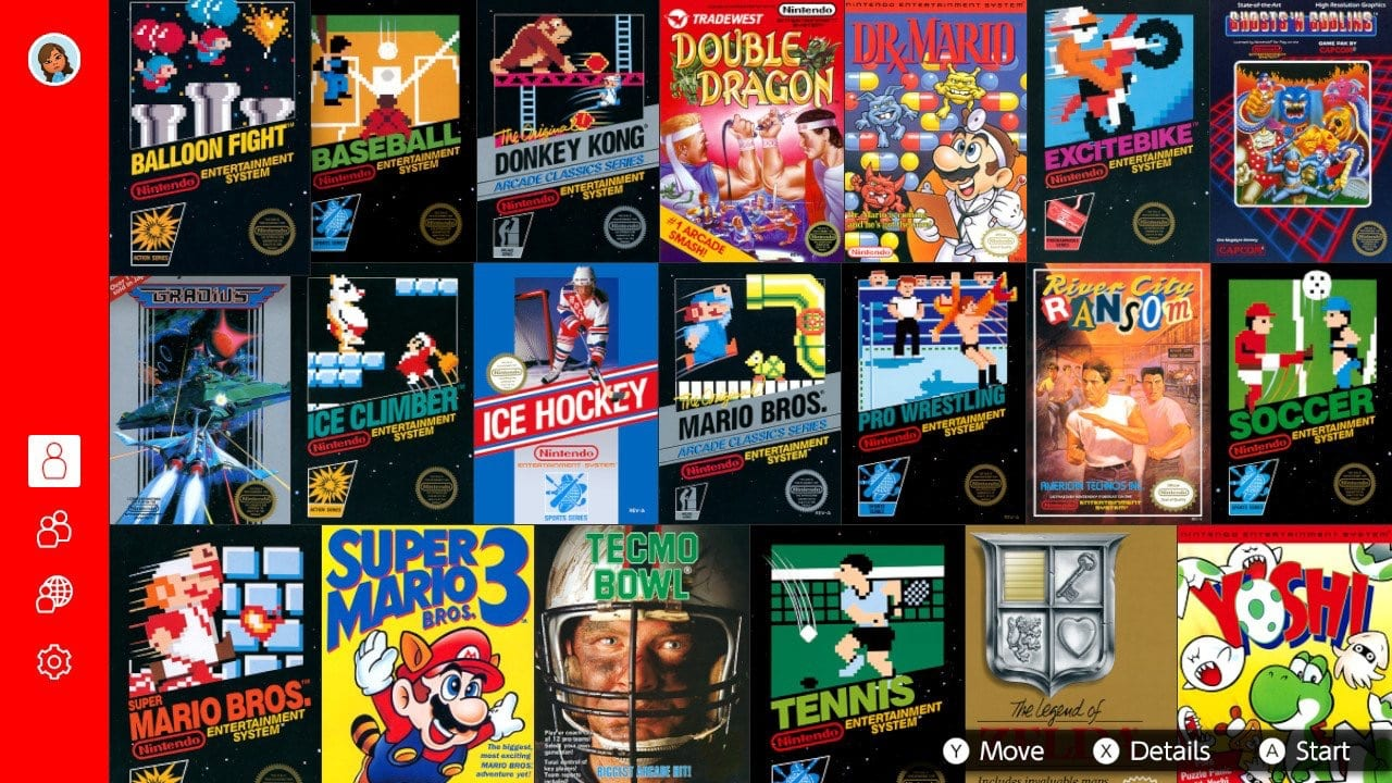 A complete shot of all the NES games available at this time for Nintendo Switch Online.